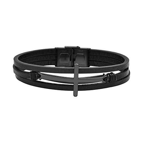 Magna Steel Men's Multi-Strand Genuine Leather Bracelet with Stainless Steel Classic Cross Pendant, Black