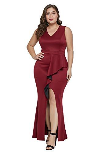 Women's Plus Size Ruffled Trim Sleeveless Enchantment High-Low Maxi Cocktail Wedding Party Dress ()