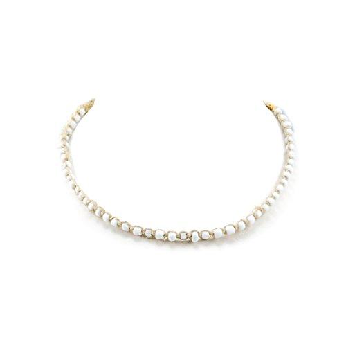 BlueRica Hemp Choker Necklace with White Glass Beads (Bead Choker Necklace)