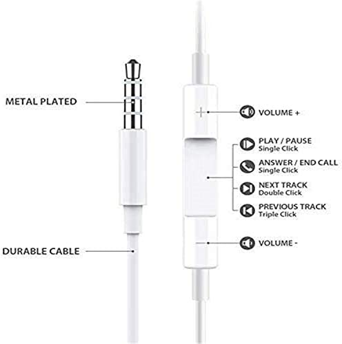 2 Pack-Earbuds/Headphones/Earphones with 3.5mm Wired in Ear Headphone Plug(Built-in Microphone &Volume Control &Stereo) Noise Isolating Headset Compatible with iPhone,iPad,iPod,Computer,MP3/4,Android 31vhACkhfRL