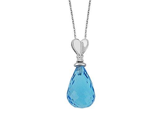 Pendentif Goute d'Eau Topaze et Diamants-Femme- or Blanc 215P0028