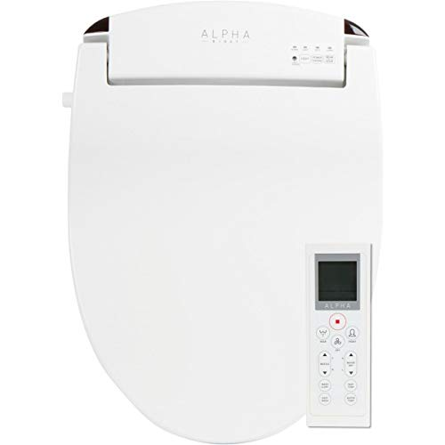 ALPHA JX Elongated Bidet Toilet Seat, White, Endless Warm Water, Rear and Front Wash, LED Light,Quiet Operation, Easy Wireless Remote Control, Low Profile Sittable Lid, 3 Year Warranty