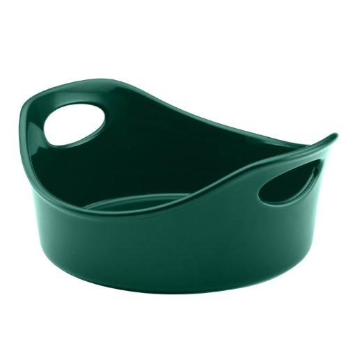 Rachael Ray Stoneware 2-Piece Bubble & Brown Round Baker Set, Dark Green