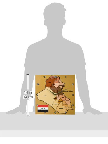 3dRose dpp/_99121/_2 Political Map of Iraq with Each Province Identified by Name and Iraqi Flag-Wall Clock 13 by 13-Inch