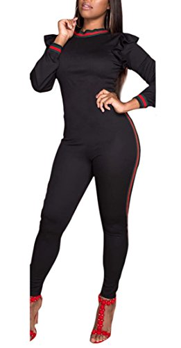 Chemenwin Women's Sexy Long Sleeve Ruffle Striped Bodycon Outfits Jumpsuits Tracksuit (Black, Small)