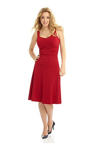 Women's Dress Tummy Fit Flare with Rosewood Sweetheart and Neckline Control Sleeveless Rekucci 4wxZqdf4