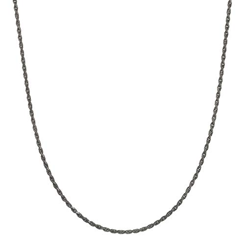 Black Rhodium Flashed Sterling Silver 1.6mm Italian Diamond Cut Rope Chain Necklace - 20