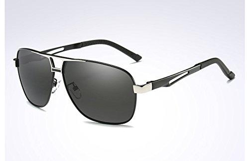 polarizadas sol Gafas de UV400 gris de black Sunglasses TL silver black sol hombre negro gafas gafas qyw8vXw0xR