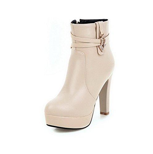 AllhqFashion Damen PU Rund Schließen Zehe Hoher Absatz Reißverschluss Stiefel, Cremefarben, 36