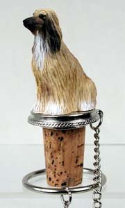 Afghan Hound Bottle Stopper Tan & White Afghan Hound Animals