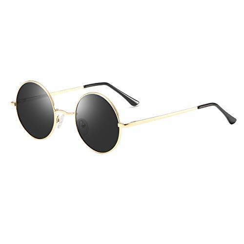Vintage Round Sunglasses John Lennon Style Circle Hippie Polarized Sunglasses for Men Women Black lens/Gold ()
