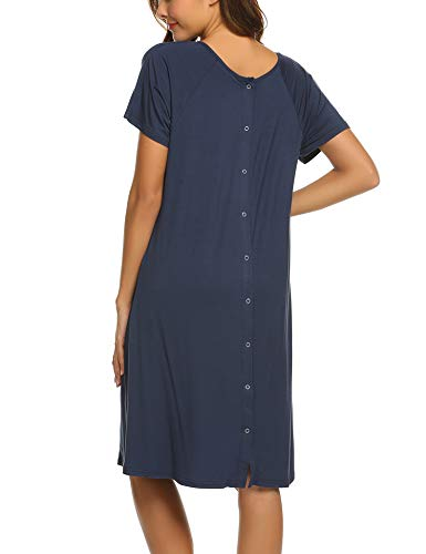 Ekouaer Maternity Nightgown Short Sleeve Sleepshirt Cotton Nursing Nightwear(Navy Blue,S)