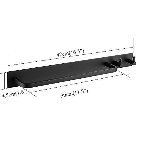 Adhesive Towel Rail with 2 Hook,40cm, Black Color, Patented Glue + 3M Self-Adhesive, Aluminum,Beelee by Beelee (Image #3)