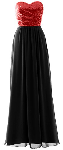 Long Bridesmaid Chiffon Strapless Elegant Party Dress Gown Black Red Sequin Formal MACloth qEHtW7n