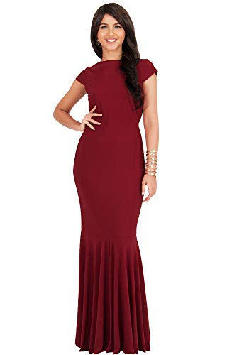 KOH KOH Plus Size Womens Long Cap Short Sleeve Formal Sexy Evening Prom Cocktail Bridesmaids Wedding Party Guest Tube Flowy Cute Fishtail Gown Gowns Maxi Dress Dresses, Crimson Dark Red 2XL 18-20