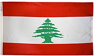 product image for Annin Flagmakers Model 194665 Lebanon Flag Nylon SolarGuard NYL-Glo, 4x6 ft, 100% Made in USA to Official United Nations Design Specifications