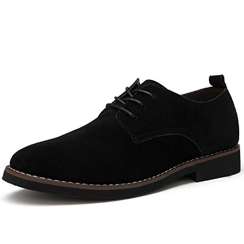(Oxford Men Shoes PU Suede Leather Casual Men Leather Shoes Male Dress Shoes,Black,8.5)