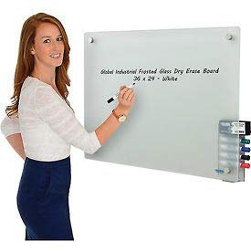 "36""W x 24""H Frosted Glass Dry Erase Board with Markers & Eraser, Lot of 1"