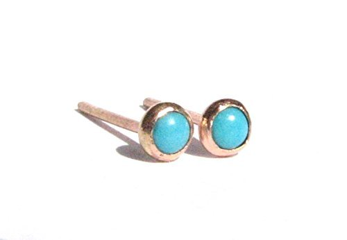 Tiny Turquoise and 14k Solid Rose / Yellow Gold Studs Earrings.