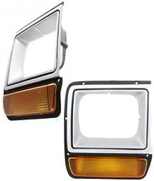 Evan-Fischer EVA18972055268 Headlight Door Set of 2 Single Passenger & Driver Side Grill Extension Grille headlamp Bezel Molding Moulding trim Black