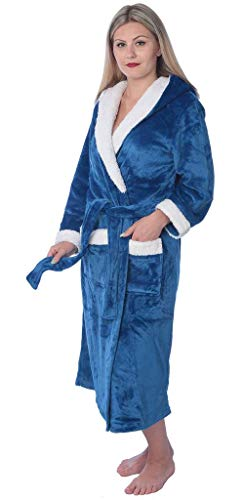 ush Soft Warm Fleece Long Bathrobe Robe PR06 Blue 2X ()
