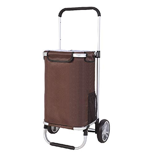 ZA Portable Lightweight Folding Laundry Shopping Grocery Utility Trolley, Pull Cart with Two Wheels, Rolling Push Dolly with Removeable Storage Bag, Pull Rod Adjustable