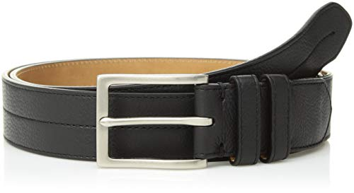 - Cole Haan Men's 35mm Pebble Leather Belt, black/tumbled nickel, 34