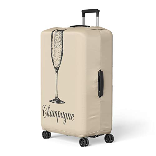 (Pinbeam Luggage Cover Champagne Glass Sketch of Spumante Alcoholic Drink White Travel Suitcase Cover Protector Baggage Case Fits 22-24 inches)