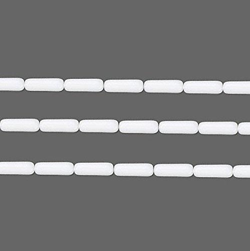 (Czech Tube Pressed Glass Beads. Preciosa Opaque White 14x4.5mm 16 Inch Strand )