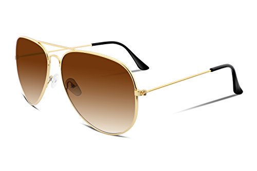 FEISEDY Retro Aviator Sunglasses Gradient Lens Men Women Brand Sunglasses - Brown Gradient Mens Sunglasses