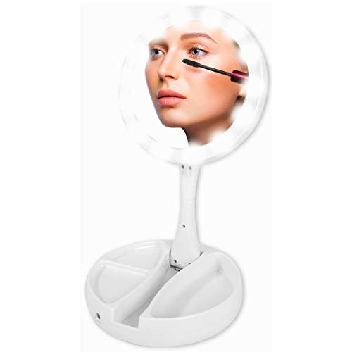 Lighted Travel Makeup Mirror with Magnification as LED Compact Foldable Mirror - Best Foldaway Vanity Mirror USB or 4 AA Battery Power