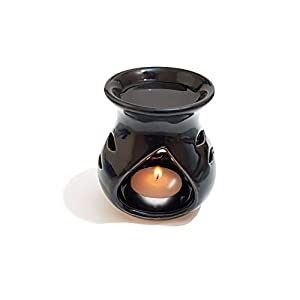 Pure Source India Ceramic Clay Candle Operated Aroma Burner (Black, 4 Inch)