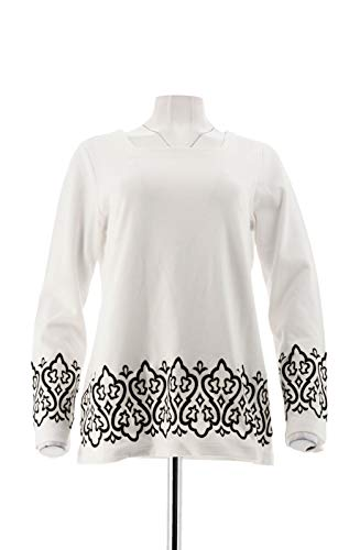 Bob Mackie Square Neck Embroidered Border Ponte Knit Top Ivory S New A282202 Bob Mackie Embroidered Blouse