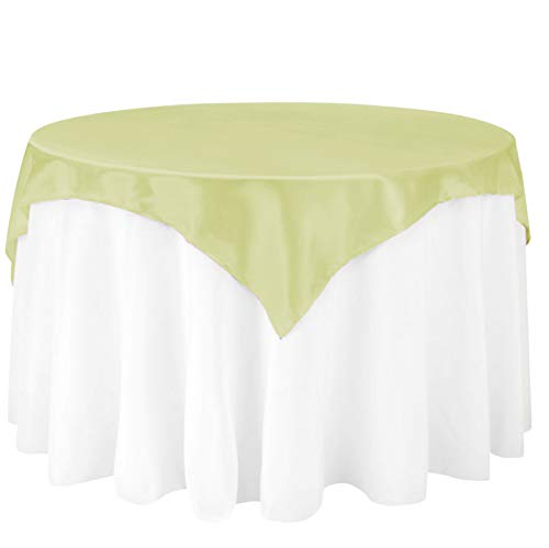 (LinenTablecloth 60-Inch Square Satin Overlay Tea Green )