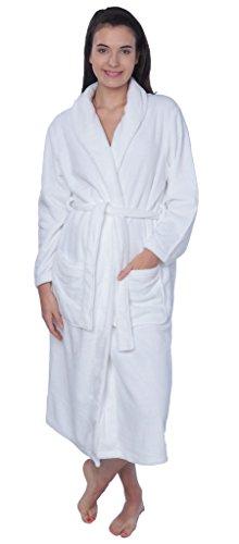 Women's Plus Size Plush Soft Warm Fleece Long Bathrobe Robe PR01 White (Fleece Housecoat)