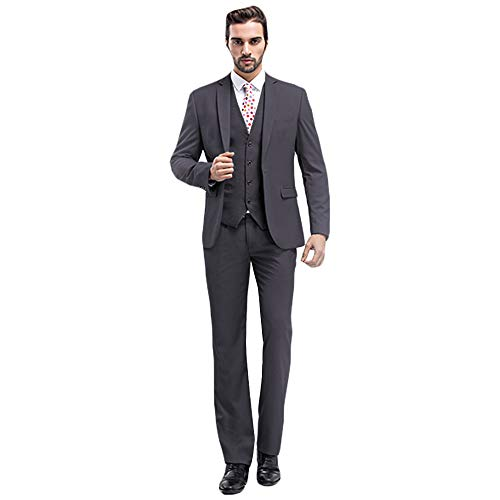 MAGE MALE Mens Solid 3-Piece Suit Slim Fit Notch Lapel One Button Tuxedo Blazer Jacket Pants Vest Set (S, Dark Grey)