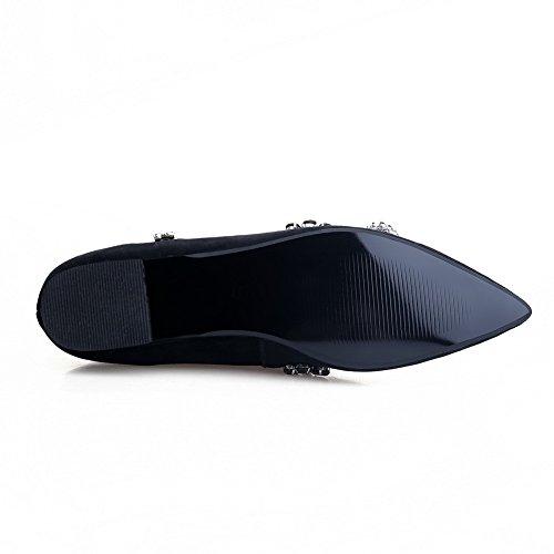 Wijde Womens Spitse Gesloten Teen Pull Op Frosted Studded No-heel Flats-schoenen Zwart