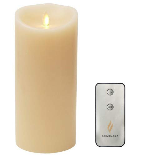 Flameless Candle Dancing Wick Pillar LED Candle with Remote & Timer, 4-Inch by 9-Inch Ivory