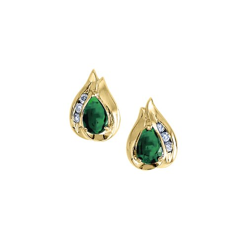 14k-Yellow-Gold-Pear-Emerald-And-Diamond-Earrings
