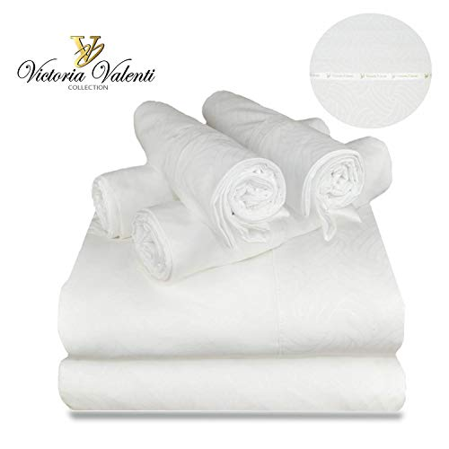 Victoria Valenti Embossed Sheet Set with 4 Pillow Cases, Double Brushed and Ultra Soft with Deep Pockets for Extra Deep Mattress, Microfiber, Hypoallergenic Queen White