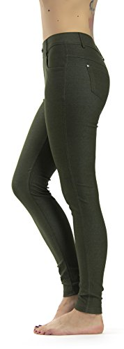 Prolific Health Women's Jean Look Jeggings Tights Yoga Many Colors Spandex Leggings Pants S-XXL (Medium, Green) ()