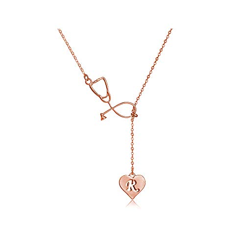 Dcfywl731 Rose Gold Stethoscope Lariat Necklace 26 Initial Alphabet Letters Pendent Necklace Heart and Stethoscope Pendant for Doctor Medical Student Graduation Gift (R Stethoscope Necklace)
