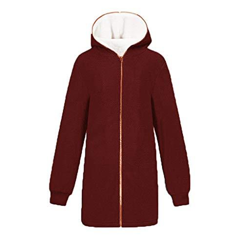 Solid Oversized Zip Down Hooded Fluffy Coat Cardigans Outwear Pocket Women Wine
