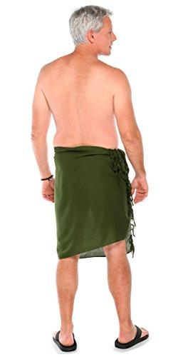 Unicolor Mundo Hombres Oscuro Oliva Verde 1 Para Sarong Sarongs De Uq7x71H