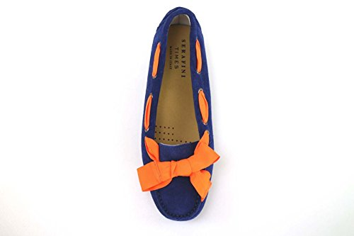 Chaussures Femme SERAFINI ballerines bleu Orange daim AM812