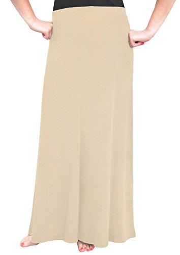 (Kosher Casual Women's Modest Flowing Long Elastic Waist A-Line Maxi Skirt in Lightweight Viscose/Lycra Medium Khaki)