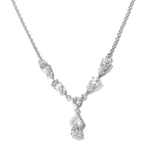 Memorial Day White Topaz 925 Sterling Silver Teardrop Fashion Pendant Necklace 2 cttw Size 18