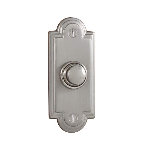 Satin Chrome Doorbell - Casa Hardware Williamsburg Style Solid Forged Brass Metal Doorbell with Push Button in Satin Chrome Finish