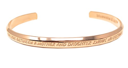 Bluewake & Co. Inspirational Jewelry Adjustable Cuff Band Bangle Mantra Bracelet, 316 L Stainless Steel (The Love Between A Mother And Daughter Knows No Distance, Rose Gold) by Bluewake & Co.