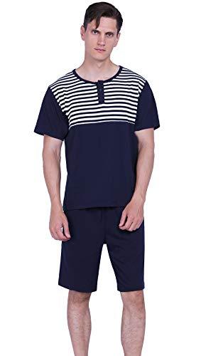 Cotton Camouflage Pajamas - YIMANIE Men's Pajama Set Soft Cotton Short Sleeves and Shorts Classic Camouflage Sleepwear Lounge Set